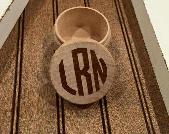 Monogram Circle Letter Wood Box- Laser Engraved Personalized