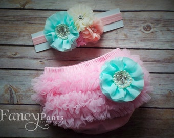 Baby girl bloomer set, Pink  Mint Green and coral,Bloomer Diaper Cover set, Ruffle Butt, Chiffon Ruffle bloomer, Diaper cover, proto prop