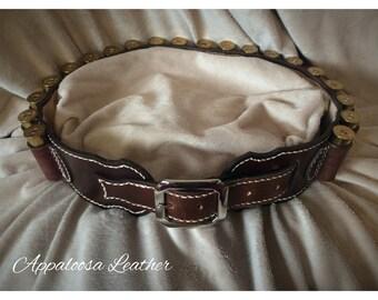 Leather Cartridge Belt - 12 Gauge Shotgun Shells - Handmade Leather Ammo Belt - Brown Cartridge Belt