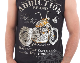 Addiction Sleeveless Men's Biker West Coast Choppers Motorcycles Vintage Old School Rockabilly