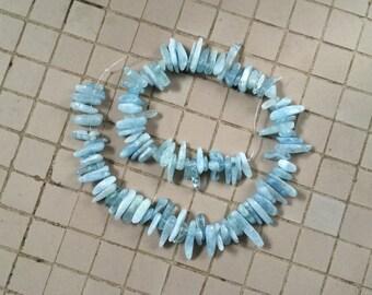 "Full 15"" Strand Natural Aquamarine Briolette Beads"