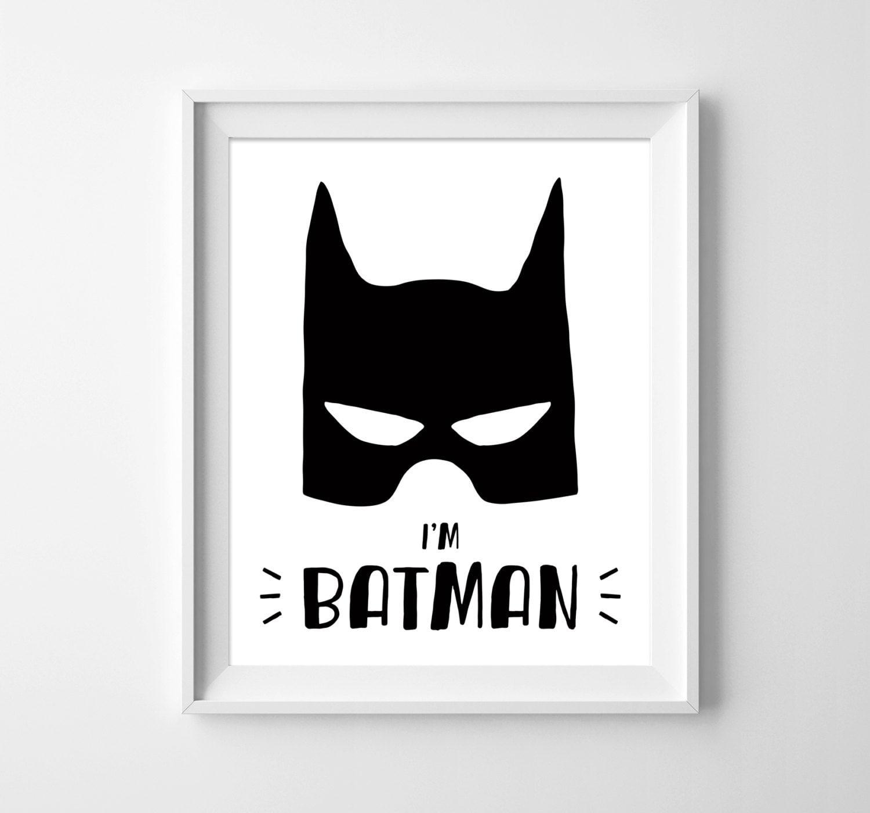 Batman Illustration. Nursery Art. Wall Print. Kids Room Decor