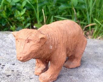 Cool hand made clay bear figurine