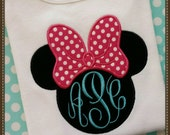 Minnie Mouse Tank top, white  tank, Minnie with hot pink polka dot bow, Disney applique monogrammed shirt