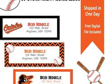 60 Personalized Baltimore Orioles Themed Return Address Labels - Baseball Address Labels