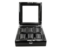 Luxury high gloss black solid wooden Watch Box wooden watch organiser carbon fiber velvet