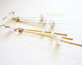 Long white earring