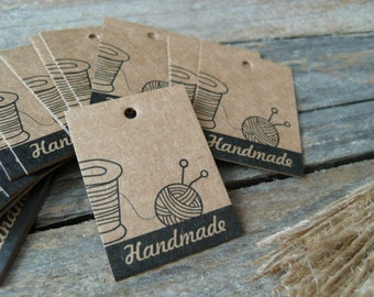 25pcs Vintage Style Kraft Knitting Style Handmade Hangtag Tag