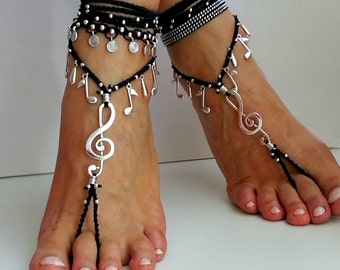 Music Barefoot sandals, Boho wrapped ankle, FOOT JEWELRY, Hippie anklet, MUSIC note, Gypsy sandals, Crochet, Belly dance, Beach wedding shoe