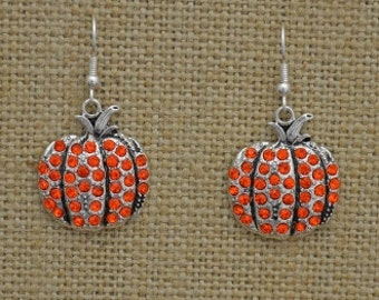 Pumpkin Rhinestone Earrings Fall Thanksgiving Jewelry