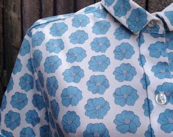 60s Blue Flower print button down short sleeve womens shirt