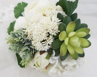 Mix Hydrangea Berry Succulents Plant Ranunculus Wedding Bouquet