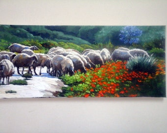 Sheeps/ Oil On canvas/Landscape view/sheeps in the valey/30X70cm/gadi dadon/Original Painting/made to order/view oil painting/israeli artist