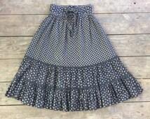 Vintage GUNNE SAX 1970s Prairie Skirt / Corset Waist / Black Floral / Boho