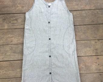 Vintage FLAX by Angelheart Linen Pinstripe Tank Dress / Loose Fitting / Minimalist