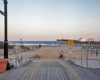 Ocean City Boardwalk Path to Beach | Giclee Canvas Art 12x14