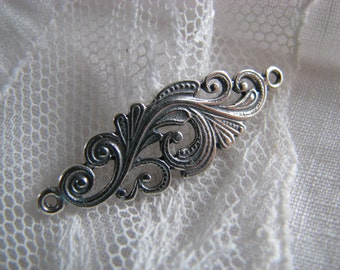 Wavy Paisley Sterling Silver Oval Link ~ 33mm x 10mm