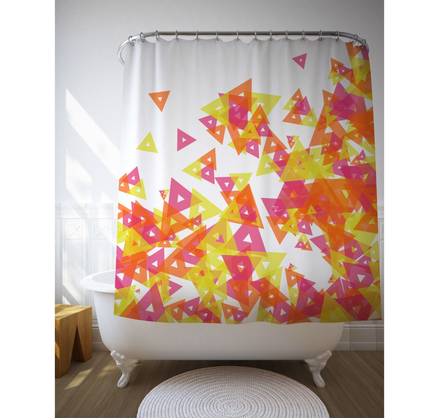 Red And Yellow Geometric Art Shower Curtain By Macrografiks