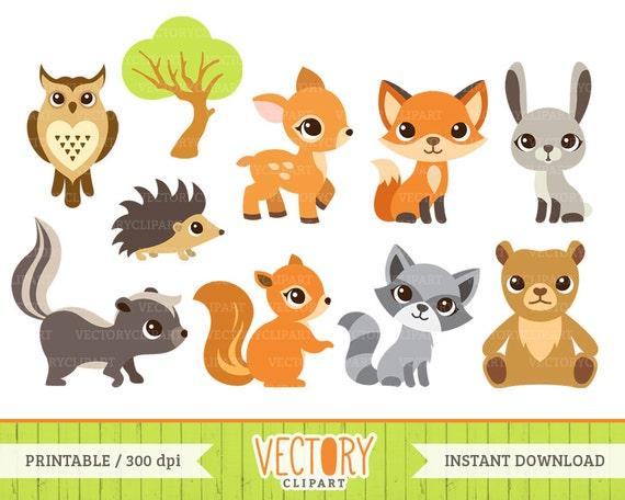 10 Woodland Animal Clipart, Forest Animals, Animal Clip Art (Fox ...