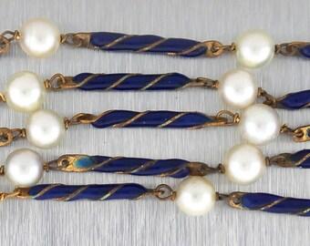Elegant Ladies Vintage Antique Estate 18K Yellow Gold Pearl Blue Enamel Necklace