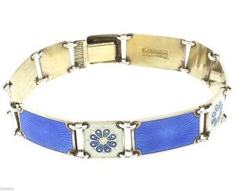 "Estate Norway Sterling Silver Blue and White Enamel Bracelet 7.25"""