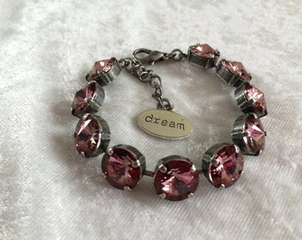 12mm antique pink swarovski crystal bracelet- pink- breast cancer awareness- supporting Cancer- necklace and earrings available