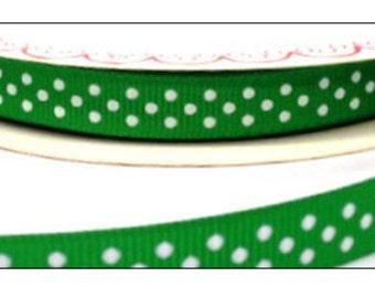 3 metres Berties Bows Polka Dot Grosgrain Ribbon, Emerald and White, 9mm wide, ribbon, craft supplies