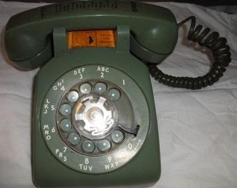 Vintage Green Rotary Telephone/Works