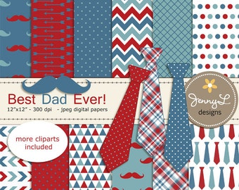 Necktie and Mustache Digital Papers, Father's Day Digital papers and Clipart, Little Man Dad, Red and Blue Daddy, Papa Scrapbooking