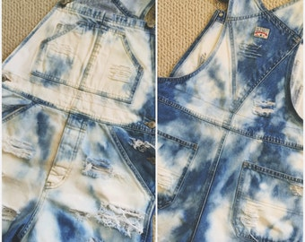 Bleachie Distressed Overall Shorts