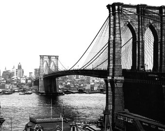 Brooklyn Bridge Poster, Circa 1904, New York City, Manhattan, East River, Brooklyn Bridge, NYC
