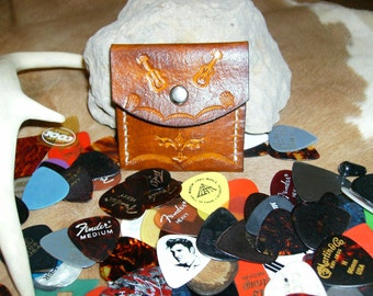 "Guitar Pick Case, Leather, handmade,tooled and stitched. 2 3/4"" x 2 3/4"" Yellow Sunburst"