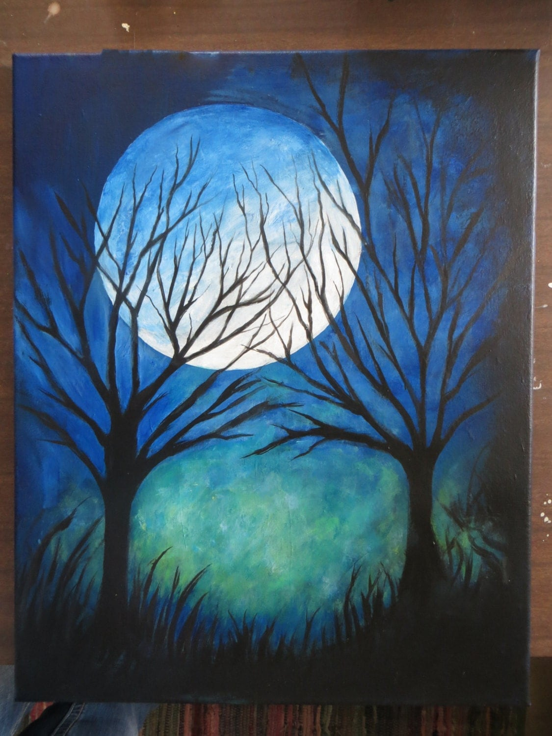 Abstract Art Modern Art Night Time Moon and Trees Painting 16