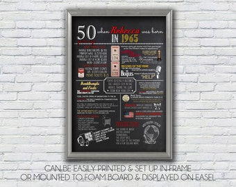 Personalized 50th Birthday Poster Printable, 1965 OR 1964 version, What happened in 1965, Milestone Birthday - High resolution Digital File