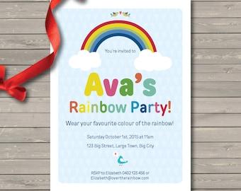 DIY Custom Printable Rainbow Birthday Party Invitation
