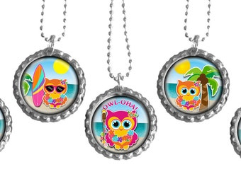 Luau Party Favors- Beach Theme Birthday Party, Owl Party Favors Set of 5