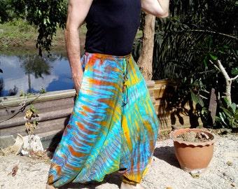 Mens Handmade Tie Dye Harem Pants. Baggy Pants. With Pockets. Blue