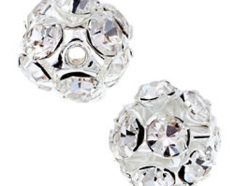 10mm Beadelle Silver Crystal  Rhinestone Balls (6 pcs)