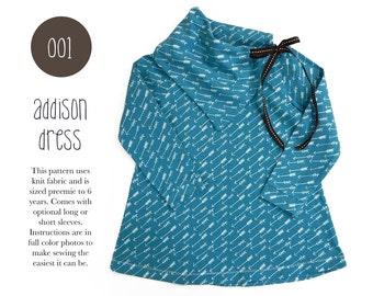 001 Addison Cowl Dress PDF Sewing Pattern Baby Kid Knit Long Sleeve Little Girls Preemie- 6T Ribbon Tie Sadi & Sam
