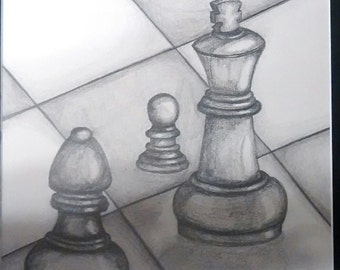 "original artwork, OOAK, graphite ""Chess"""