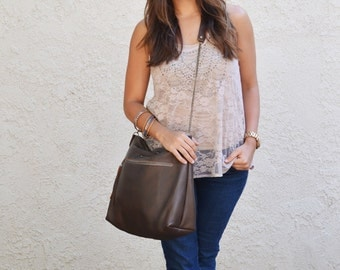 Dark Brown Deerskin Leather Crossbody bag / Brown Leather Bag