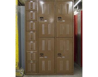 Vintage Locker Set / Rustic / Industrial / Caramel Brown