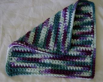 100% Cotton Crochet Crocheted Washcloth Washrag Dishcloth in Teal and Purple