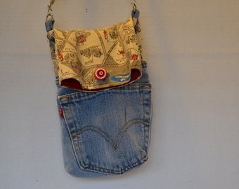 Awesome upcycled blue-jeans and London map cross-body hipster