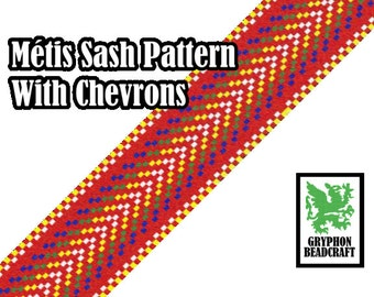 Loom Beading Pattern - Métis Sash With Chevrons