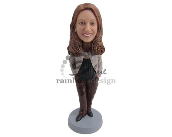 Custom Bobblehead Lady Standing In Casual Outfit Casual