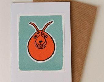 Space Hopper retro handmade card