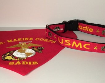 Embroidered Personalized Marine Corps Bandana & Collar Set For Large Dogs