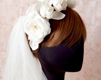 Bridal silk flower headband, headpiece - Rose headband, Ready to Ship