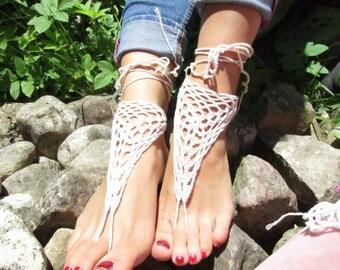 bridal shoes Barefoot Sandals white women wedding barefoot,  wedding barefoot wedding accessories Crochet Sandals Lace Sandles